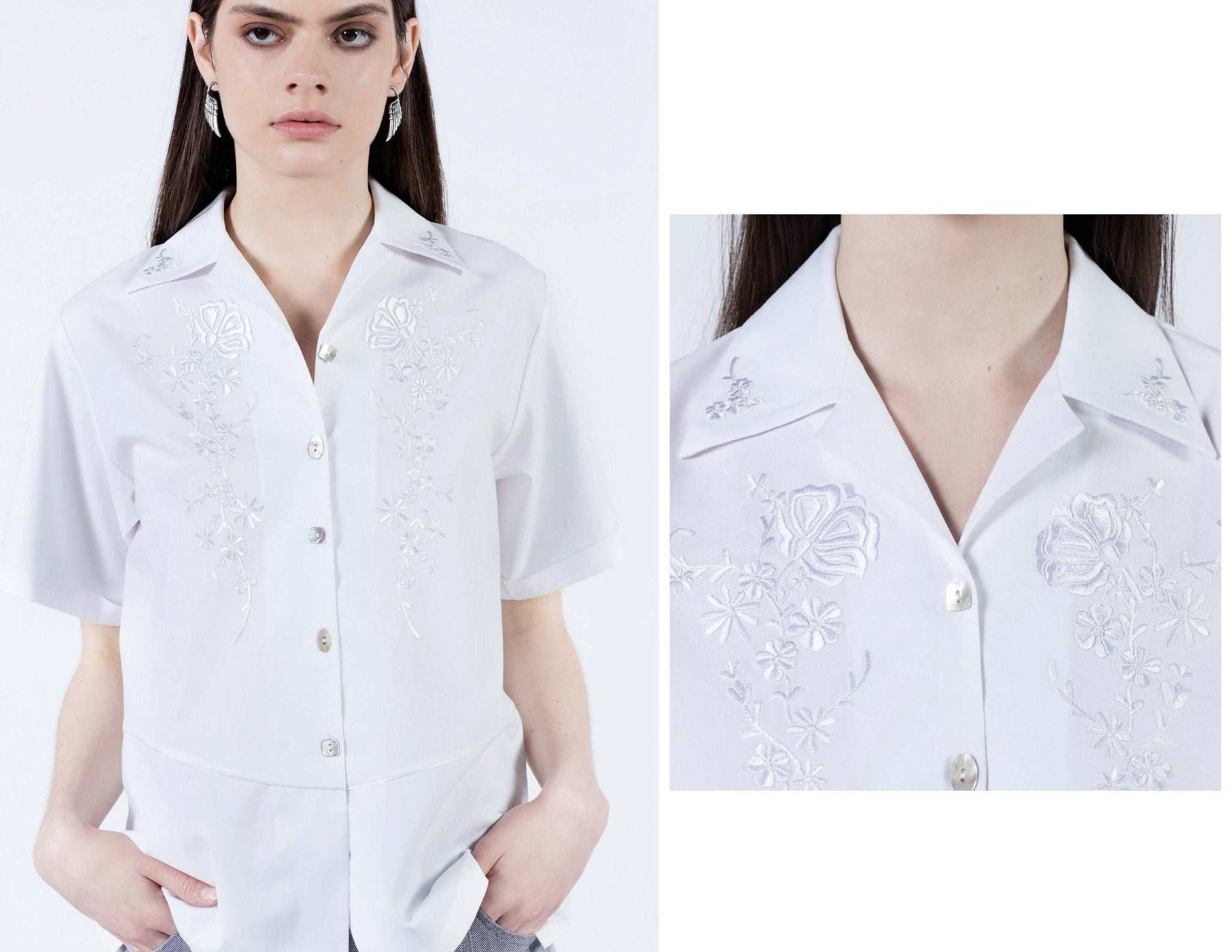 White on white goodness. White floral thread hand embroidered cotton short sleeve button up shirt with iridescent shell buttons.
