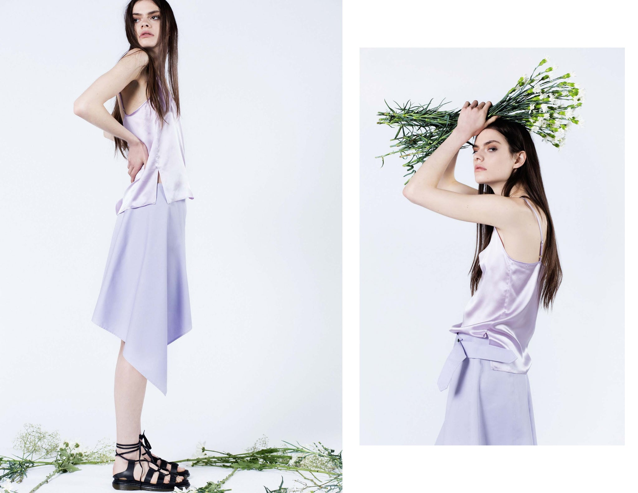 Lilac Japanese cotton twill asymmetrical draped skirt with vintage iridescent buckle -- and The perfect 100% silk charmeuse camisole. Dress up or down, for work or play.