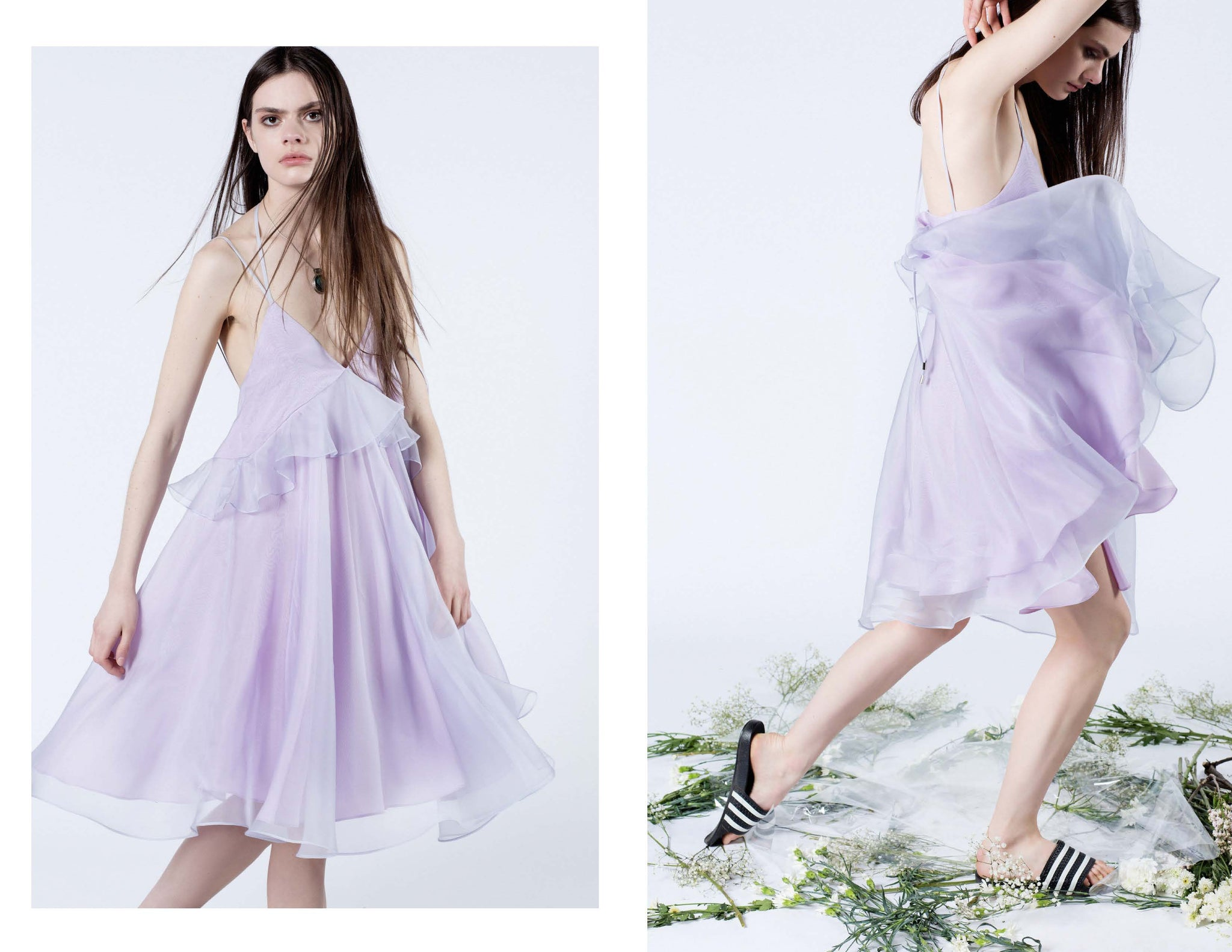 Pure deliciousness and perfect for dancing.   Lilac silk organza and crepe de chine circle dress with front ruffle and long halter tie