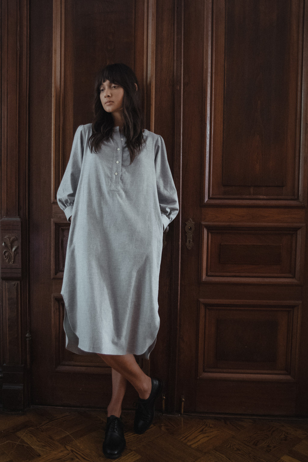 Everly House Dress in Ash Organic Cotton