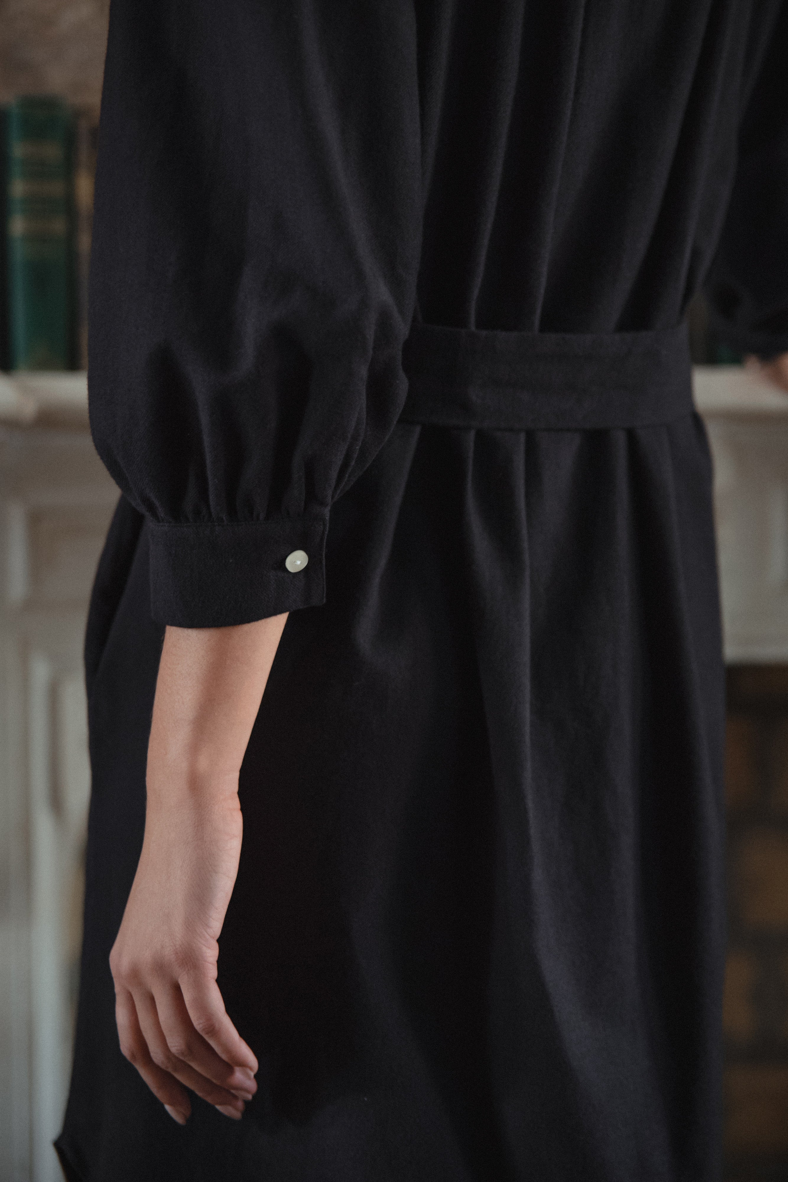Everly House Dress in Black Organic Cotton