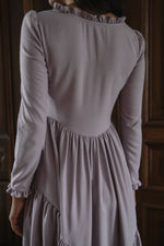 Juliette Dress in Dusty Lilac Silk Noil