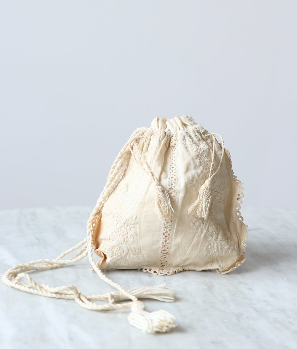 Antique Embroidered Drawstring Bag
