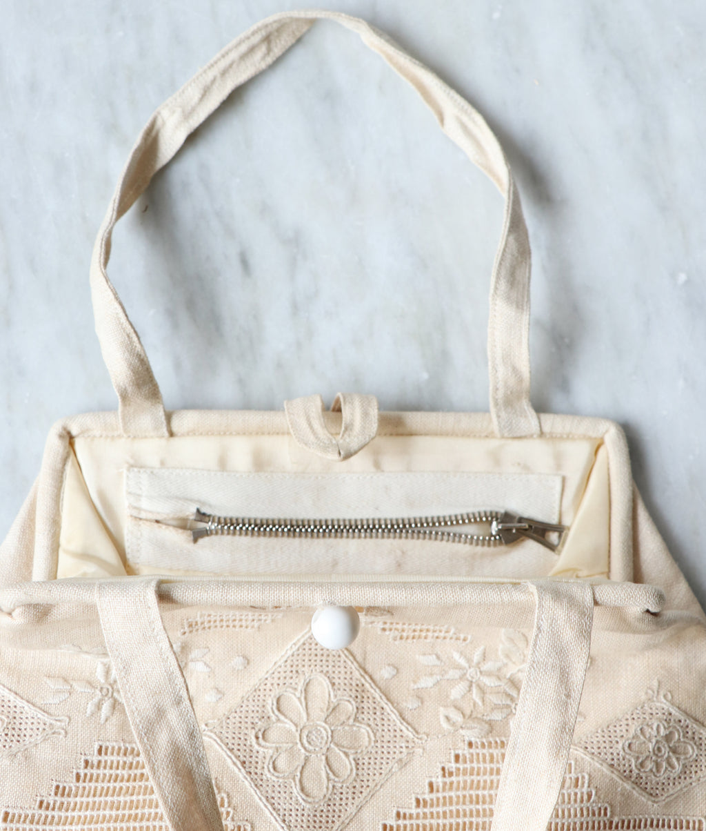 Vintage Embroidered Linen Clutch