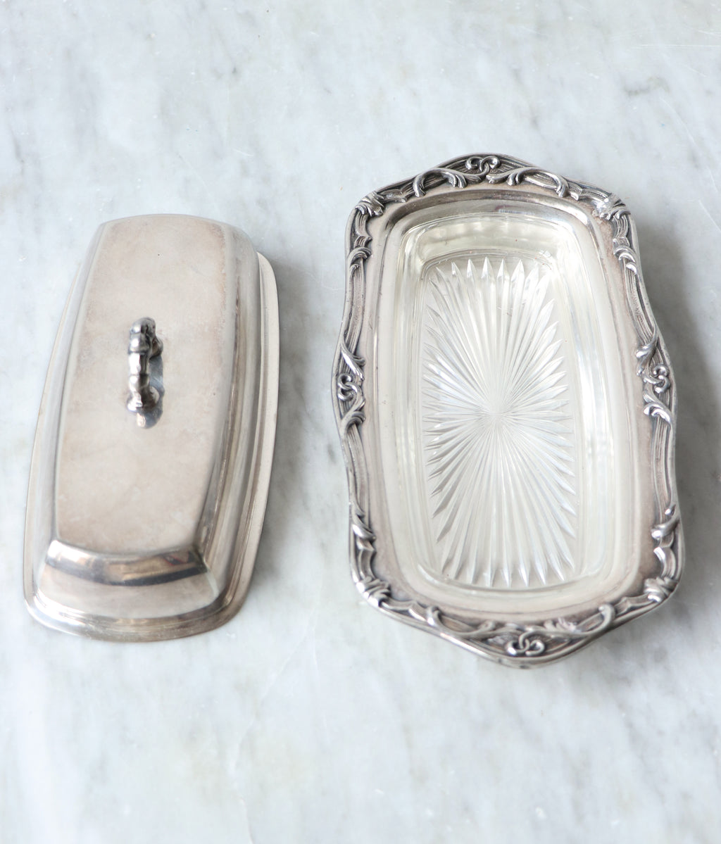 Vintage Silverplated Butter Dish