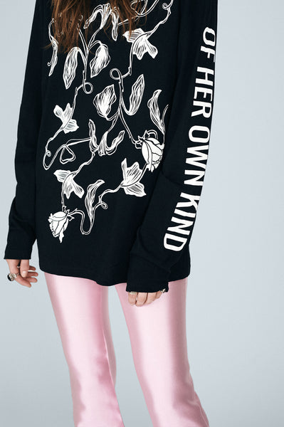 Floral Vine Long Sleeve T-Shirt - Black