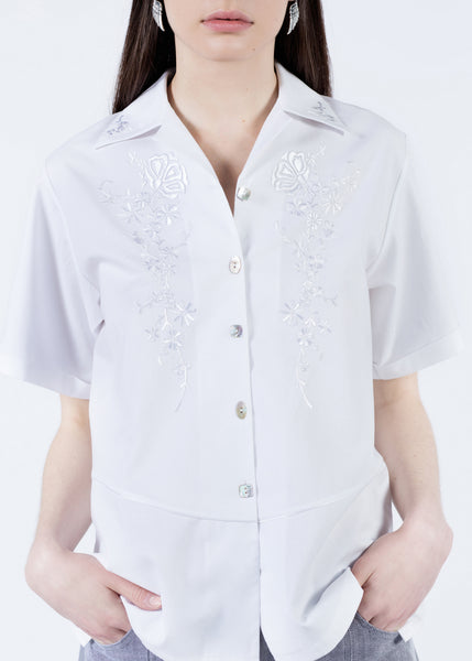 White Floral Embroidered Button Up