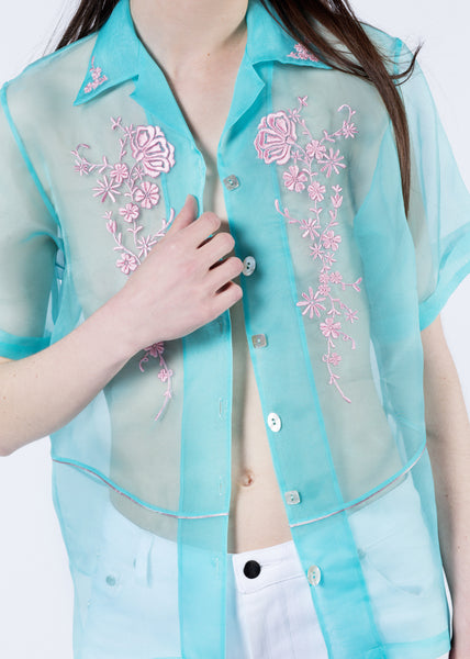 Turquoise Embroidered Organza Button Up