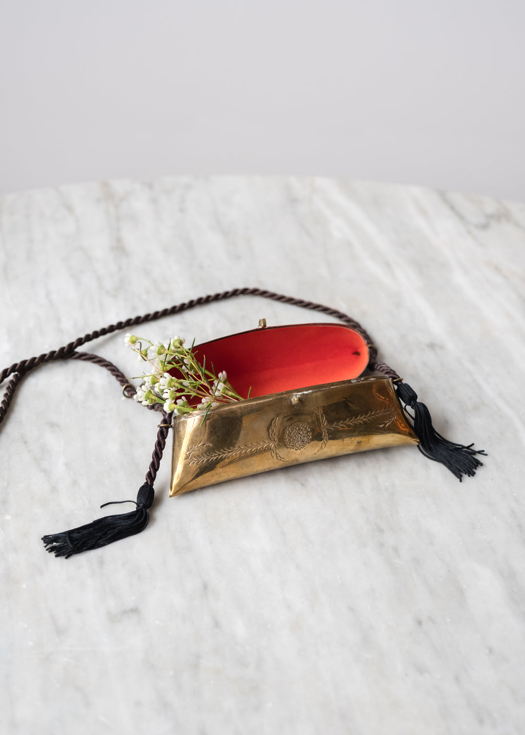 Vintage Floral Etched Brass Purse