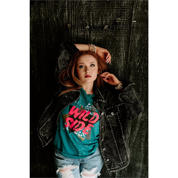 Wild Side Teal Bleached Tee