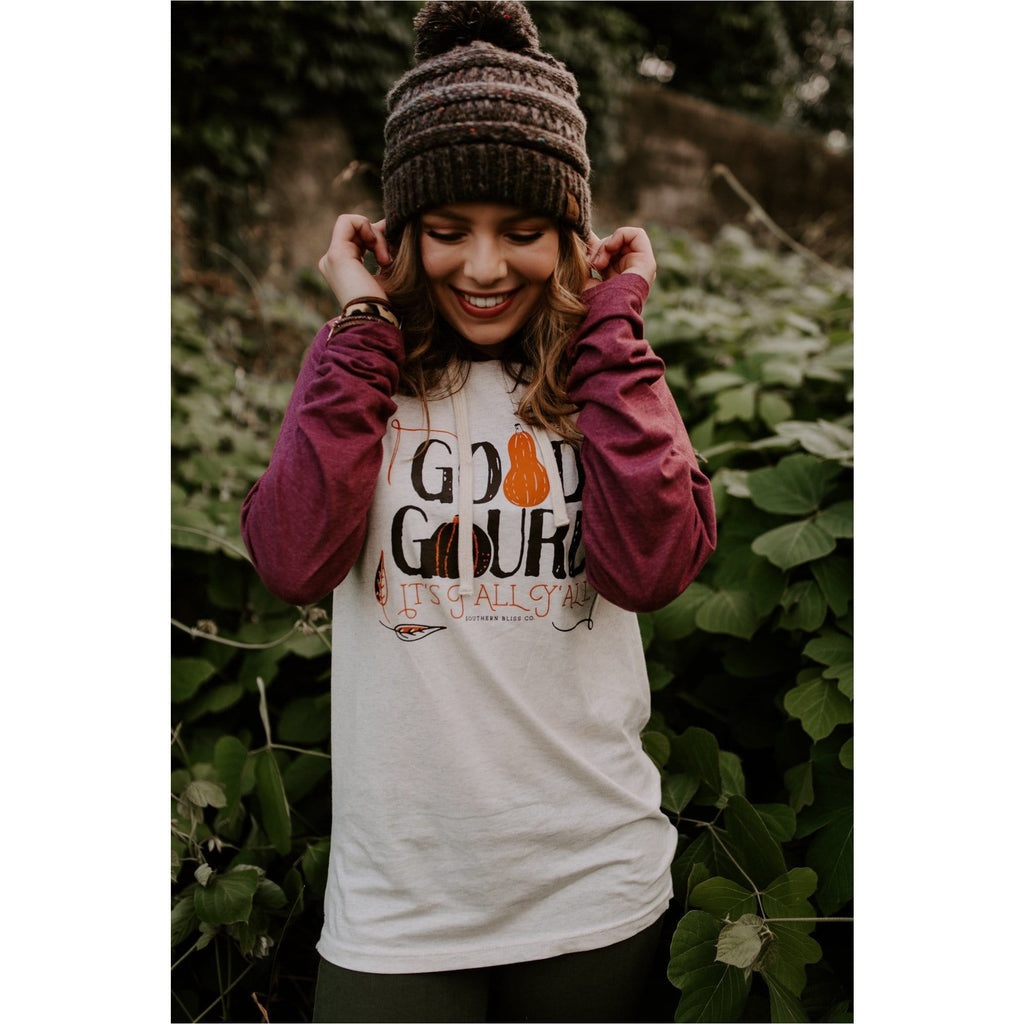 Good Gourd It's fall y'all hoodie tee maroon/oatmeal