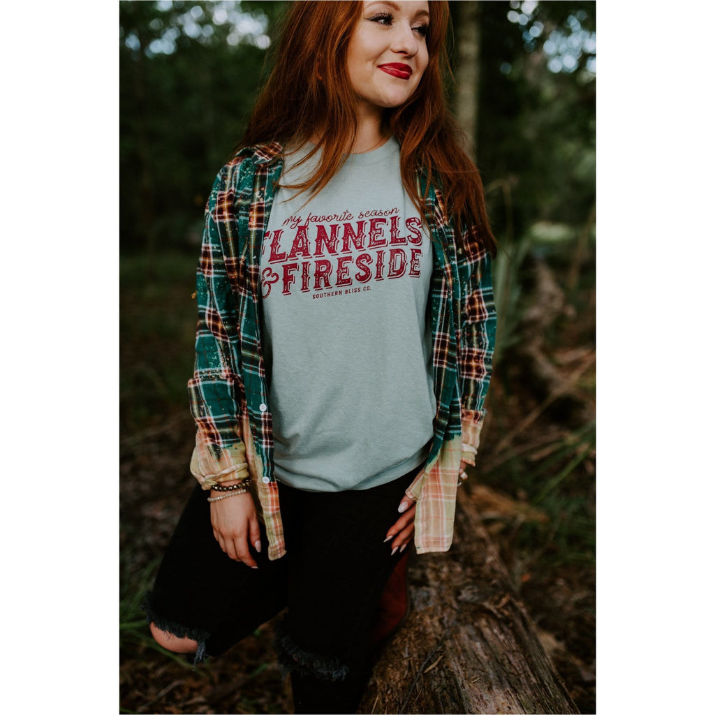 Flannels and fireside Teal tee