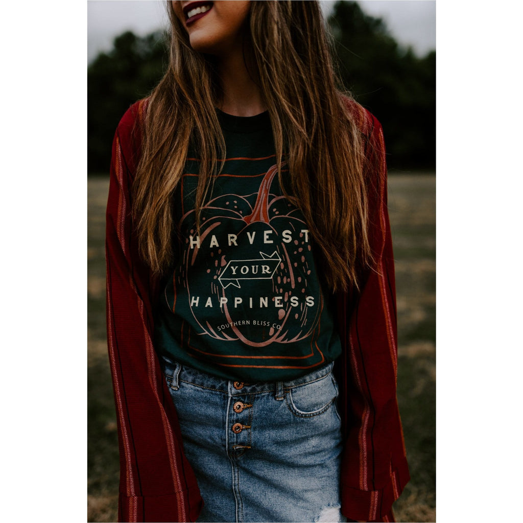 Harvest your happiness solid green tee