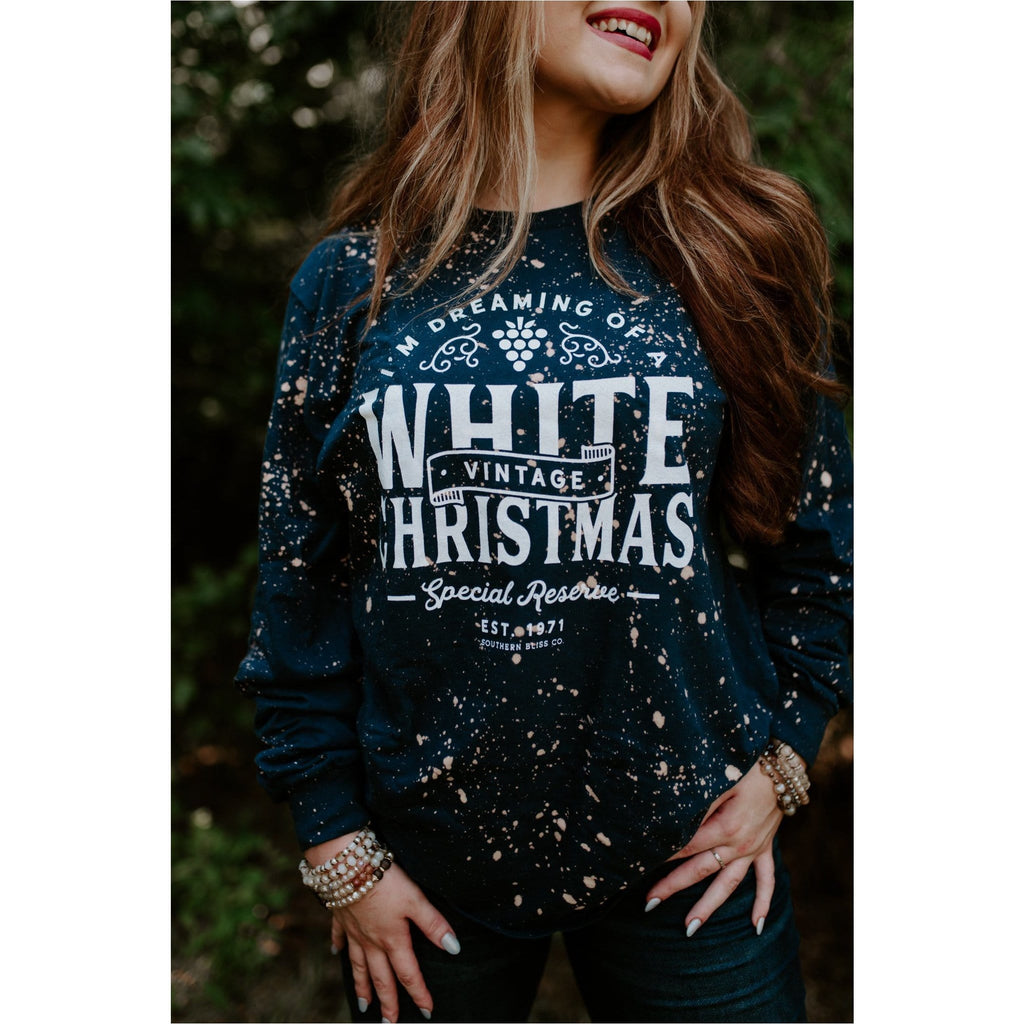 White Christmas Long Sleeve Bleached Navy