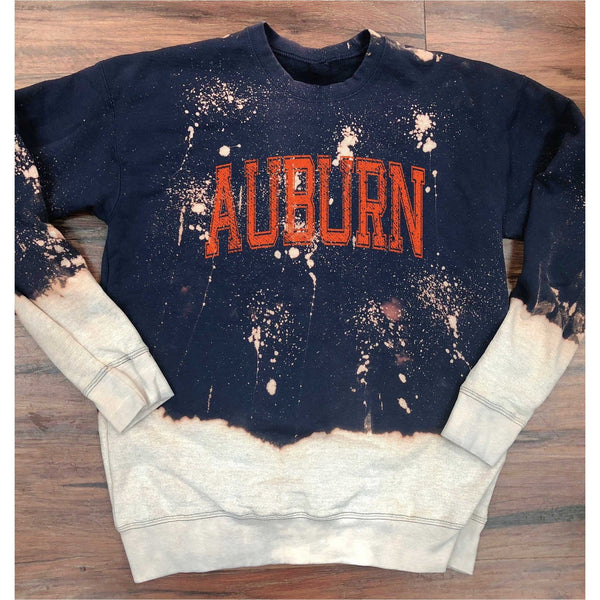 Auburn Bleached Navy Sweatshirt with Orange Print