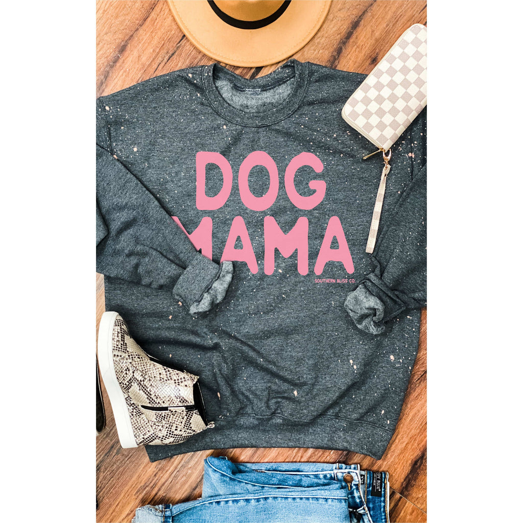 Dog Mama Gray/Pink Bleached Sweatshirt