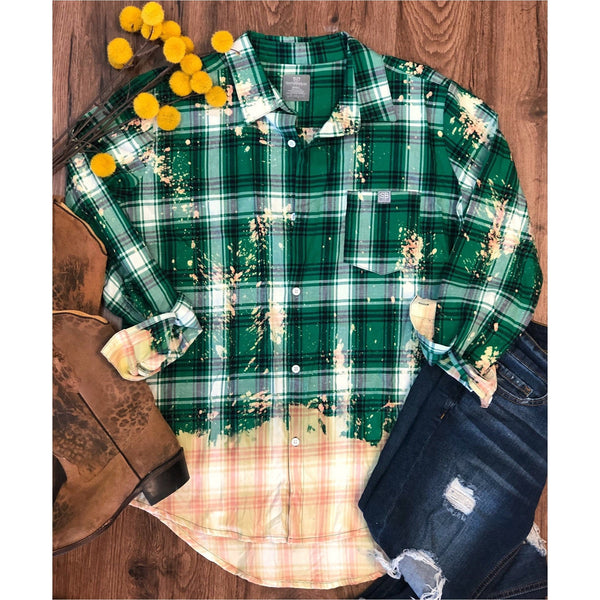 bleached green plaid