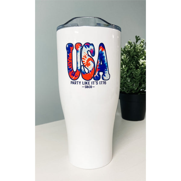 USA Red White & TieDye 27oz Stainless Steel Tumbler