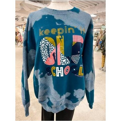 Keeping It Old School Teal Bleached Sweatshirt
