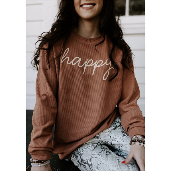 Happy - Peach Ribbed Sweatshirt