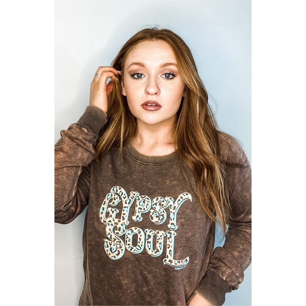 Gypsy Soul Brown Mineral Pullover