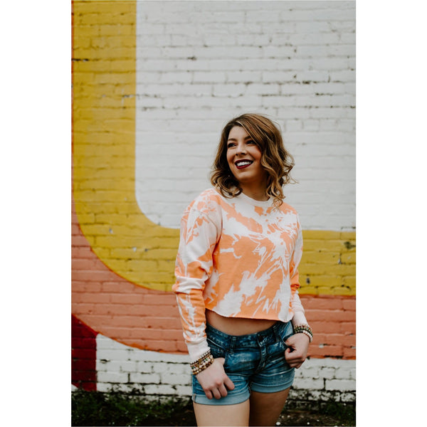 Neon orange tie dye crop sweatshirt