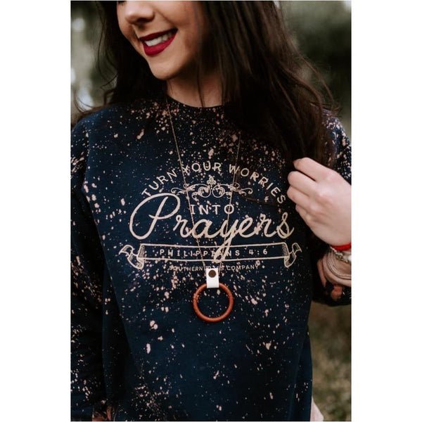 Turn your worries into prayers Navy Bleached Sweatshirt