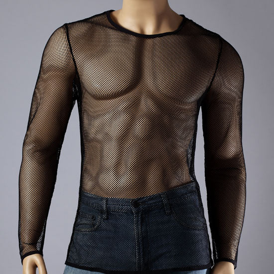 Mens long sleeve mesh top round neck small hole fishnet t for Best long sleeve shirts for men
