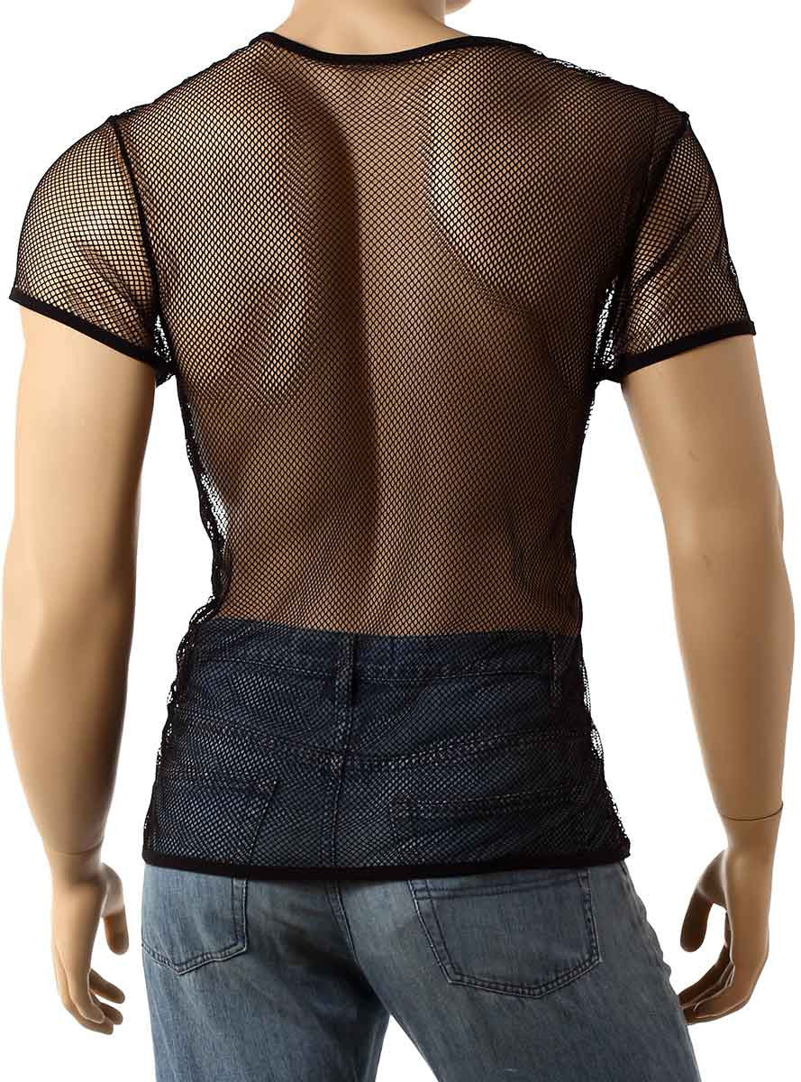 Mens Black Mesh Short Sleeve Top Fishnet Shirt Round Neck Small Hole T-Shirt #184 - Fishnet-Shirts - 4