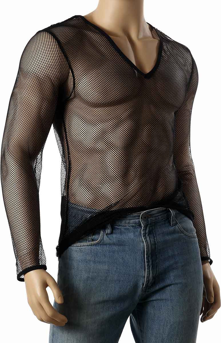 Mens Long Sleeve Mesh V-Neck Top Small Hole Fishnet T-Shirt MEN #245 - Fishnet-Shirts - 3