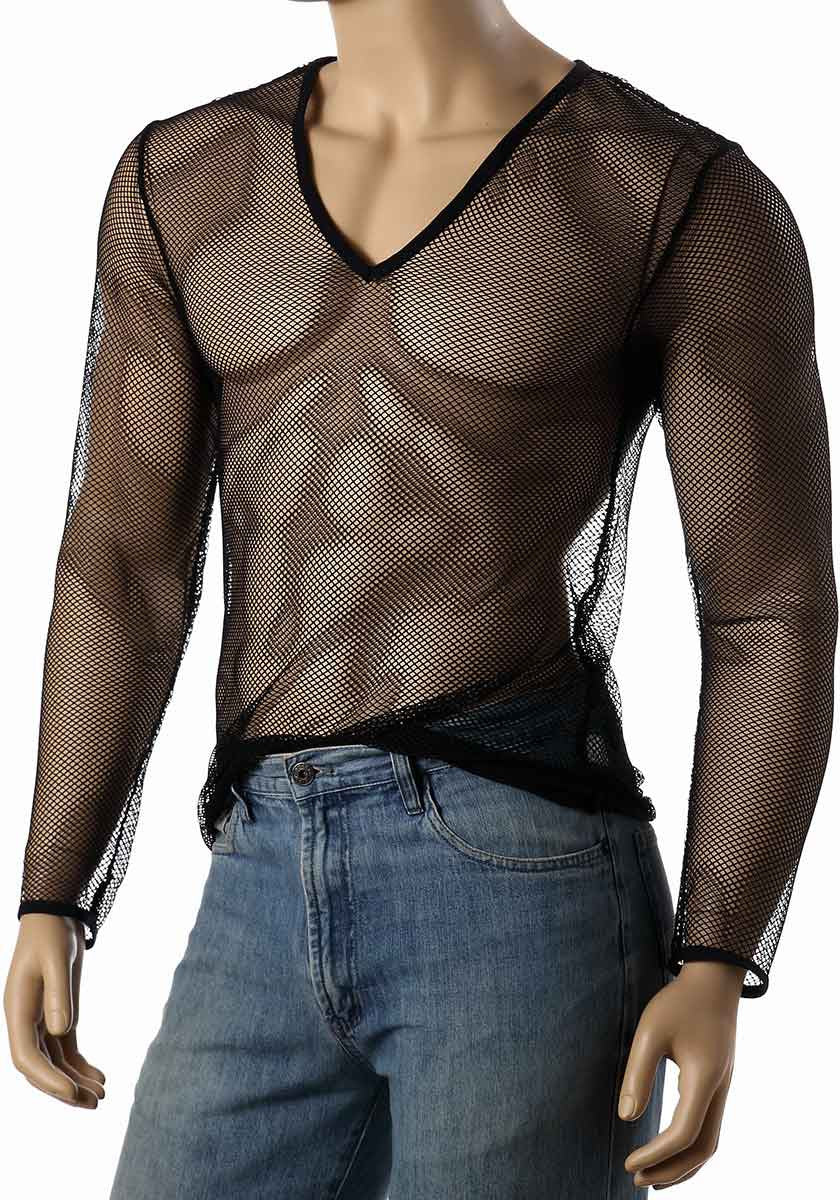 Best Mens Long Sleeve Mesh Top V Neck Fishnet Shirts
