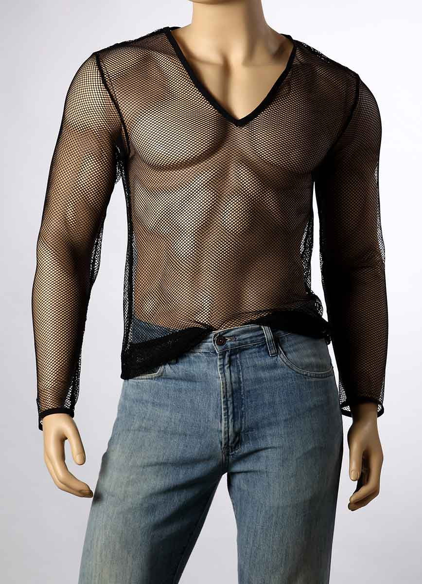 Mens Long Sleeve Mesh V-Neck Top Small Hole Fishnet T-Shirt MEN #245 - Fishnet-Shirts - 6