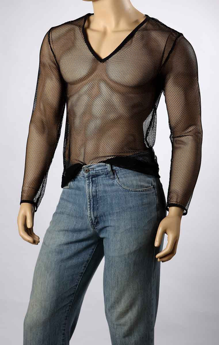 Mens Long Sleeve Mesh V-Neck Top Small Hole Fishnet T-Shirt MEN #245 - Fishnet-Shirts - 8