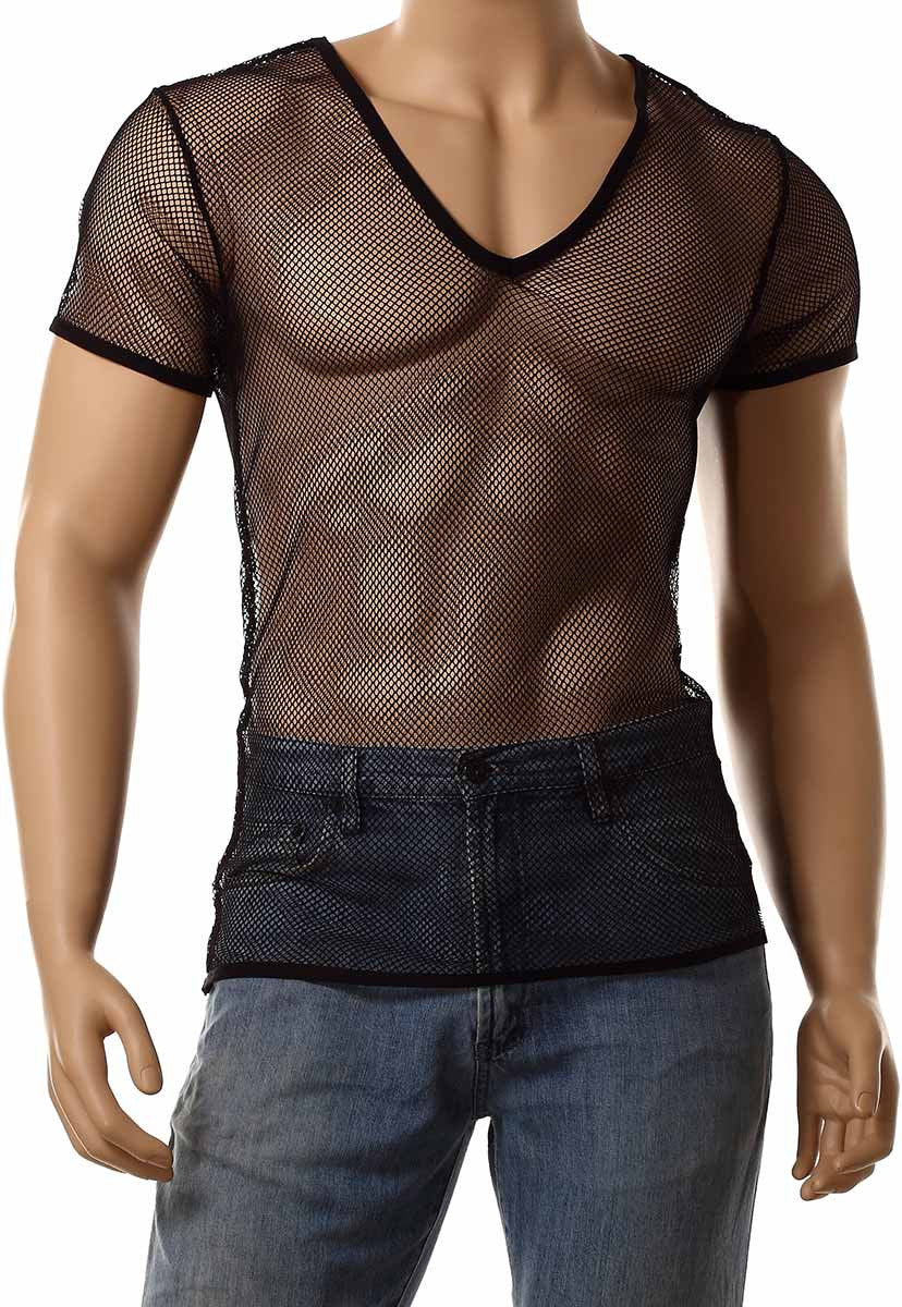 Mens Black Mesh V-Neck Top Small Hole Fishnet Short Sleeve T-Shirt #122 - Fishnet-Shirts - 1