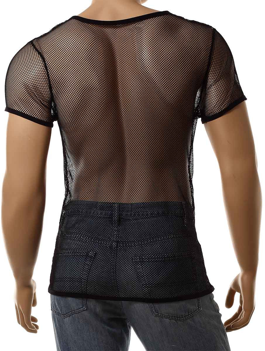 Mens Black Mesh V-Neck Top Small Hole Fishnet Short Sleeve T-Shirt #122 - Fishnet-Shirts - 4