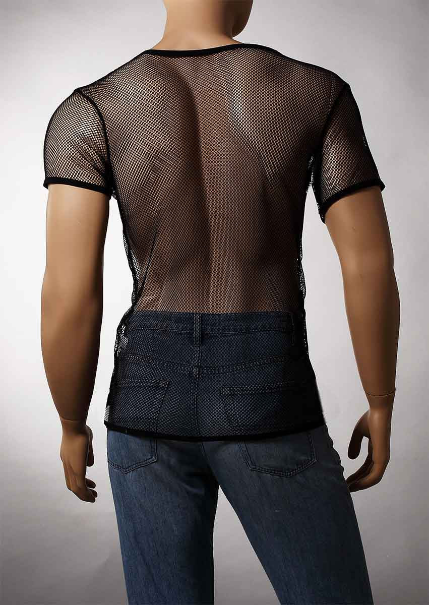 Mens Black Mesh V-Neck Top Small Hole Fishnet Short Sleeve T-Shirt #122 - Fishnet-Shirts - 5