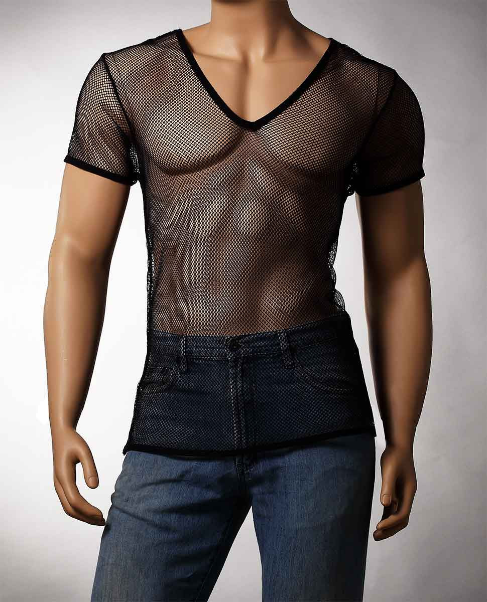 Mens Black Mesh V-Neck Top Small Hole Fishnet Short Sleeve T-Shirt #122 - Fishnet-Shirts - 6
