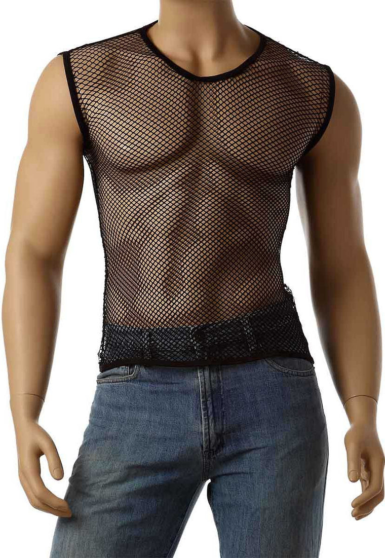 Vintage 80's Mens Mesh Fishnet Sleeveless Muscle Lingerie Underwear Top T-Shirt #368 - Fishnet-Shirts - 1