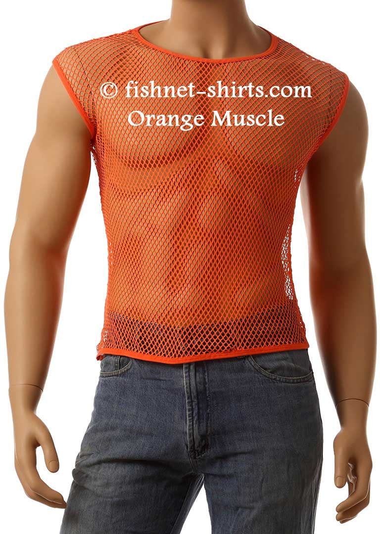 Vintage 80's Mens Mesh Fishnet Sleeveless Muscle Lingerie Underwear Top T-Shirt #368 - Fishnet-Shirts - 7