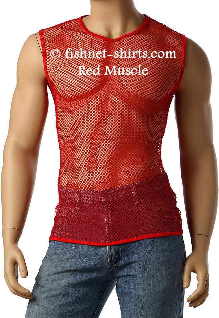 Vintage 80's Mens Mesh Fishnet Sleeveless Muscle Lingerie Underwear Top T-Shirt #368 - Fishnet-Shirts - 4