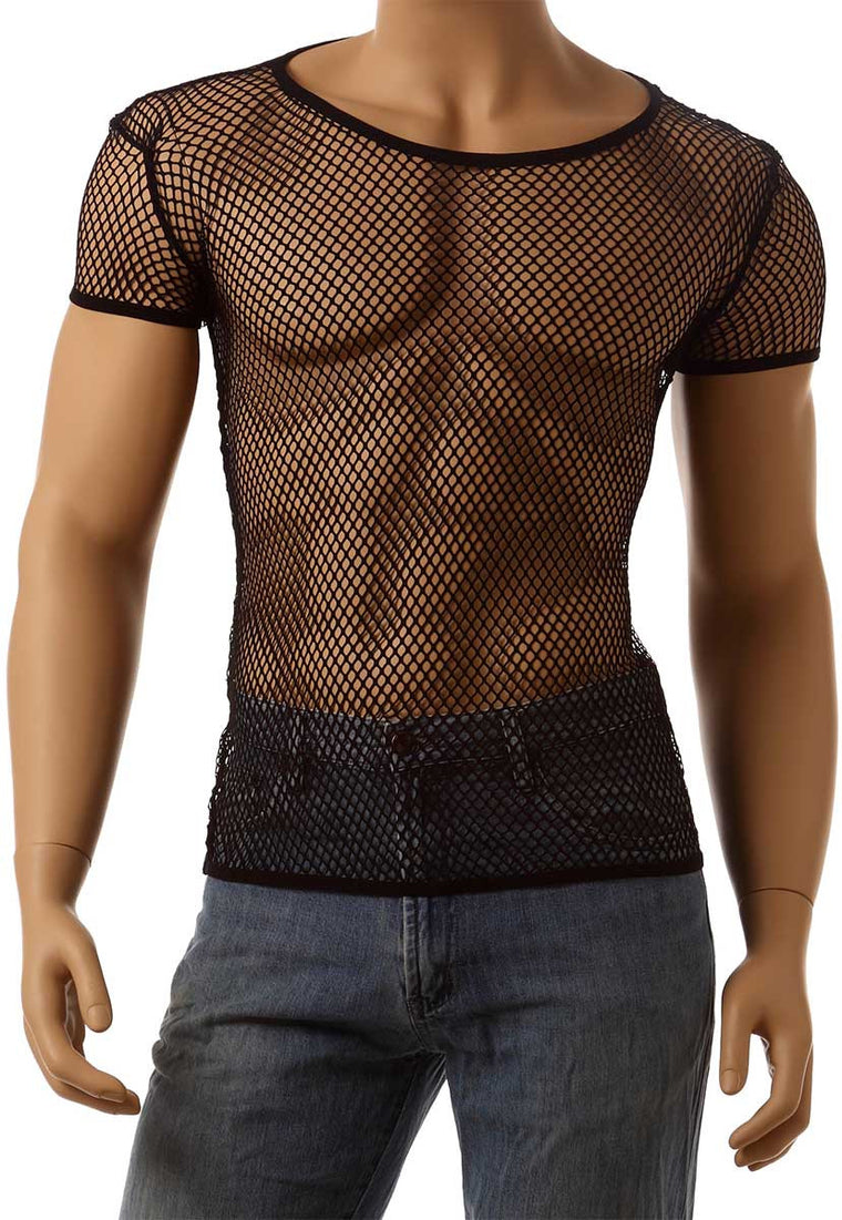 Mens Vintage 80's Mesh Fishnet Short Sleeve Underwear Lingerie T-Shirt #327 - Fishnet-Shirts - 1