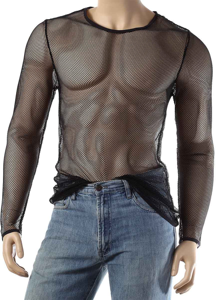 Mens Long Sleeve Mesh Top Round Neck Small Hole Fishnet T-Shirt #306 - Fishnet-Shirts - 6