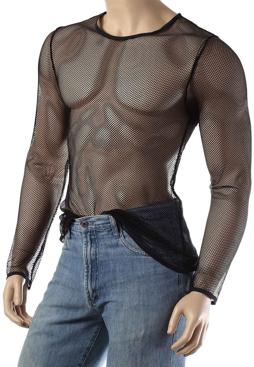 Mens Long Sleeve Mesh Top Round Neck Small Hole Fishnet T-Shirt #306 - Fishnet-Shirts - 7