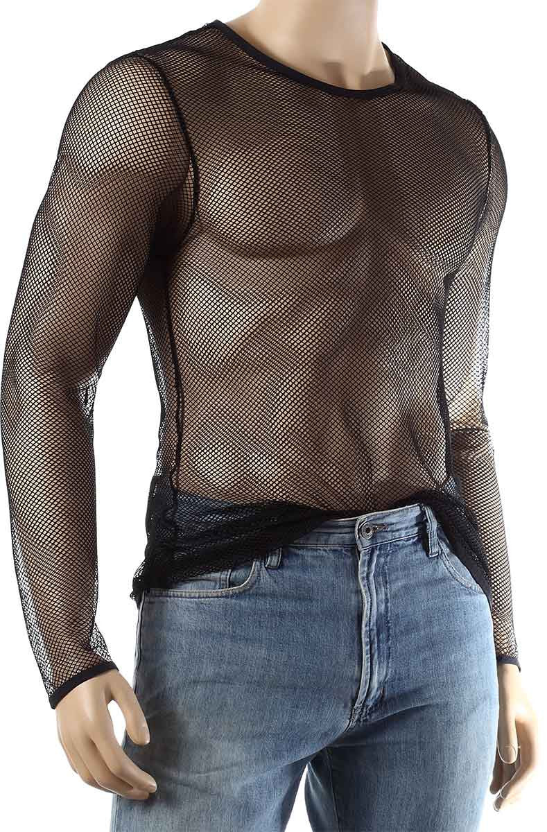 Mens Long Sleeve Mesh Top Round Neck Small Hole Fishnet T-Shirt #306 - Fishnet-Shirts - 8