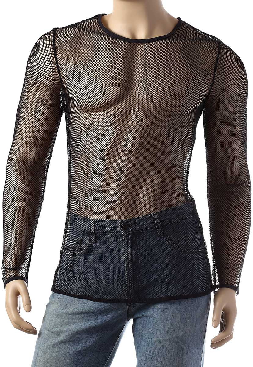 Mens Long Sleeve Mesh Top Round Neck Small Hole Fishnet T-Shirt #306 - Fishnet-Shirts - 1