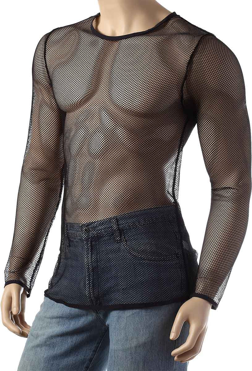Mens Long Sleeve Mesh Top Round Neck Small Hole Fishnet T-Shirt #306 - Fishnet-Shirts - 2