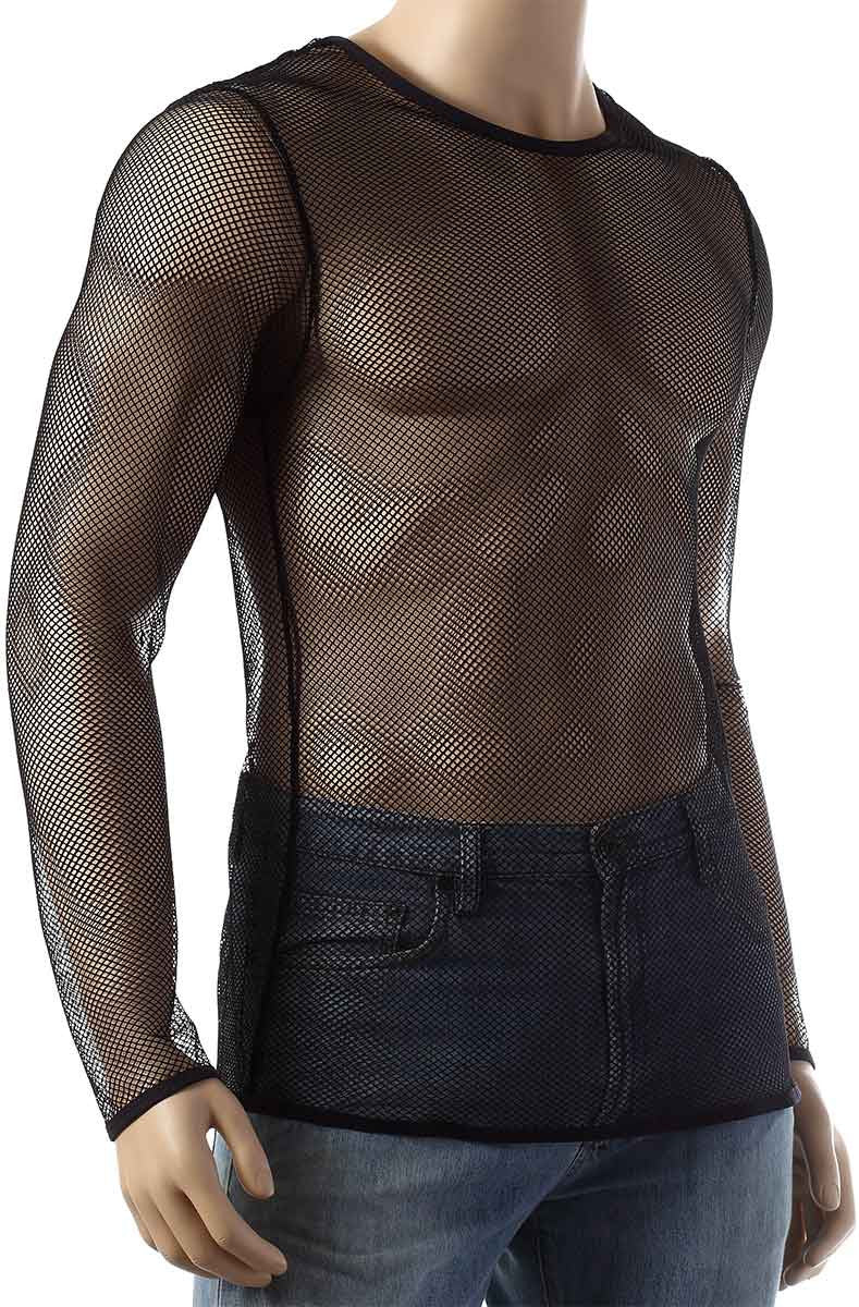 Mens Long Sleeve Mesh Top Round Neck Small Hole Fishnet T-Shirt #306 - Fishnet-Shirts - 3