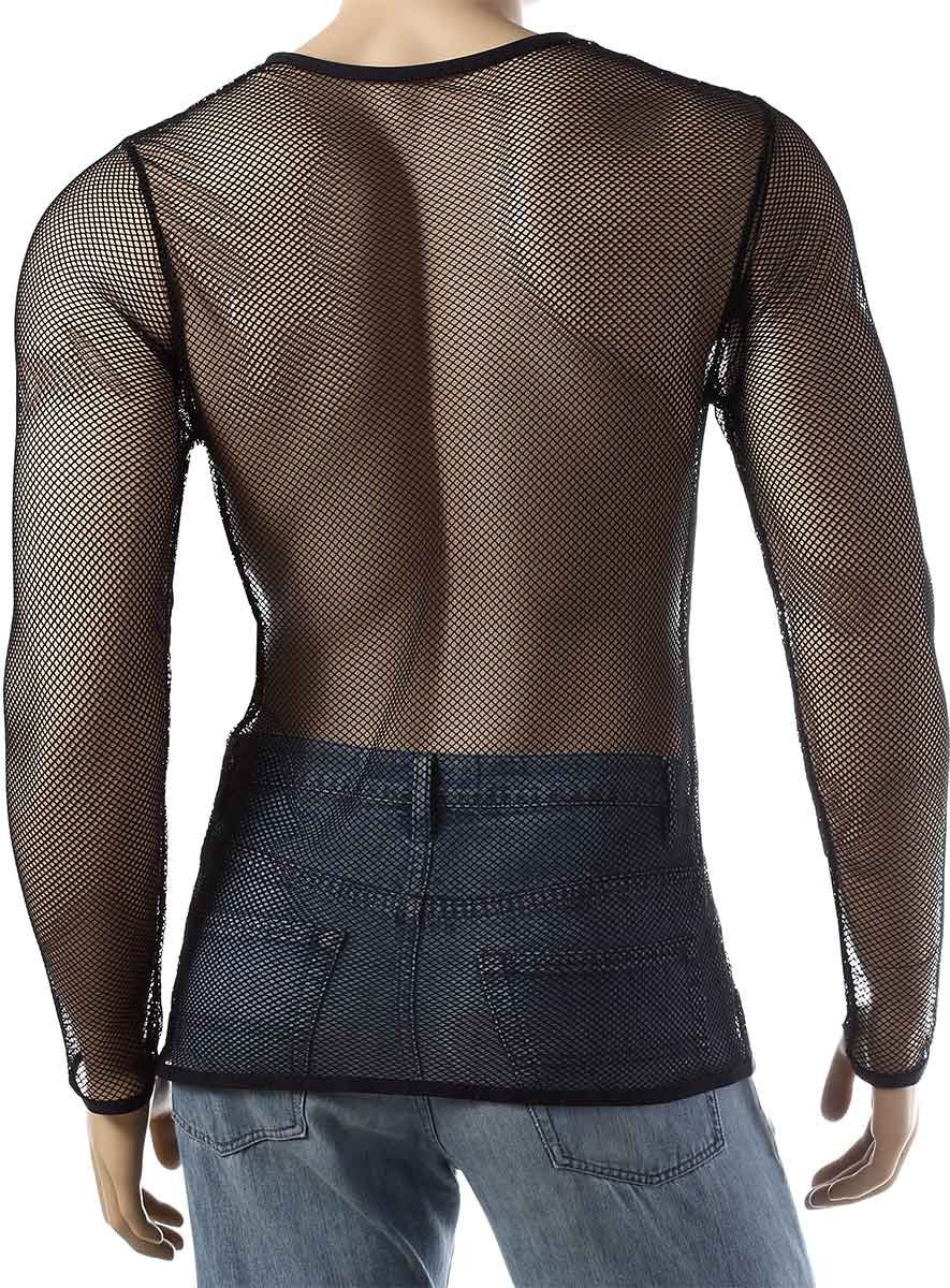 Mens Long Sleeve Mesh Top Round Neck Small Hole Fishnet T-Shirt #306 - Fishnet-Shirts - 4