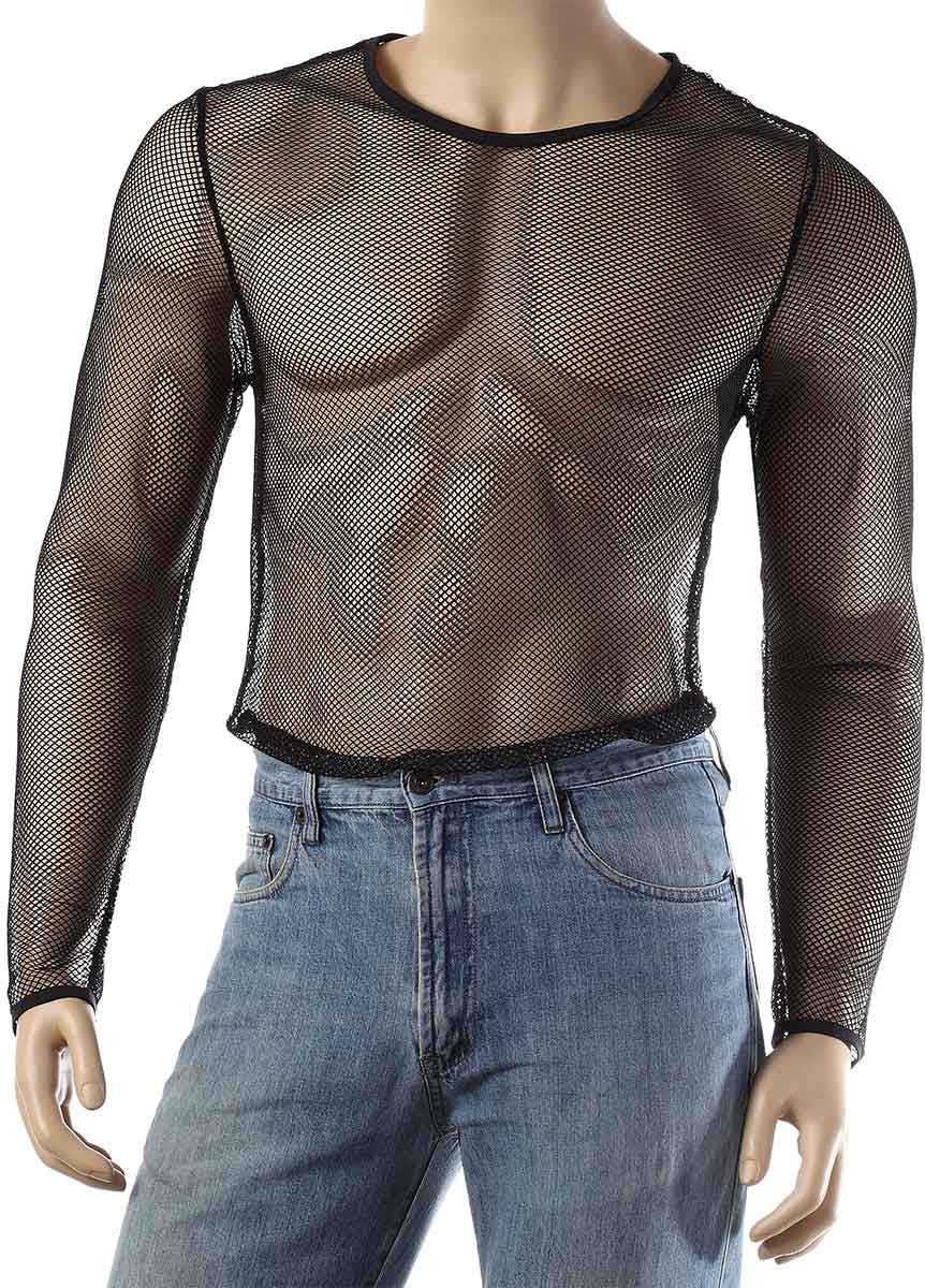 Mens Long Sleeve Mesh Top Round Neck Small Hole Fishnet T-Shirt #306 - Fishnet-Shirts - 5