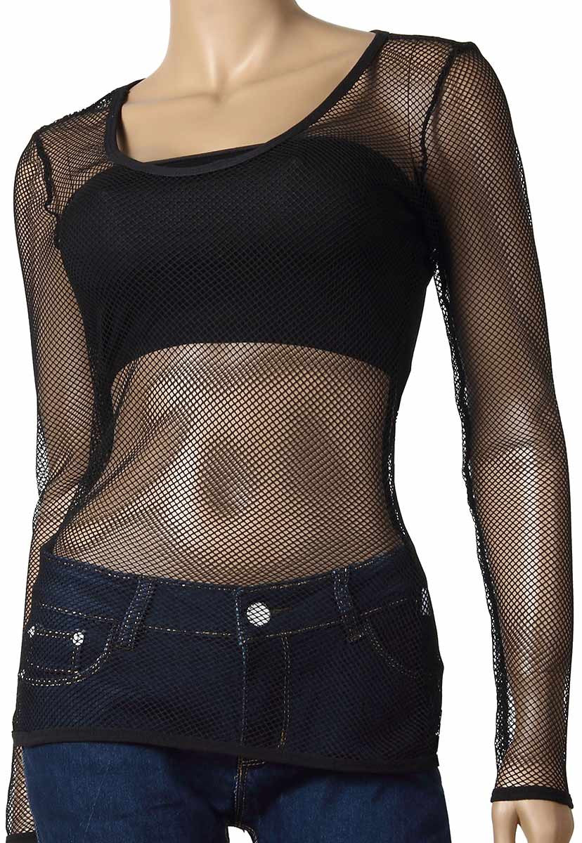 Womens Long Sleeve Mesh Top Small Hole Black Fishnet Blouse Dance Wear #61 - Fishnet-Shirts - 1